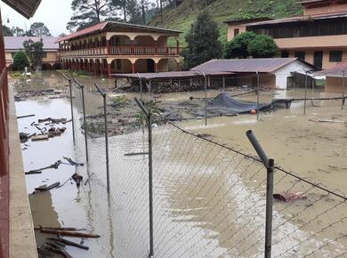 Flood waters fill school courtyard