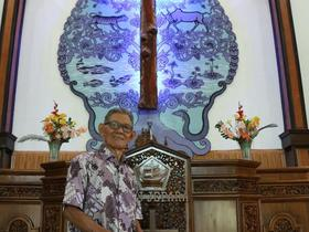 "Harjo Suyitno ""cosmic Christ"" cross Jepara GITJ gunungan style. Photo: Karla Braun."